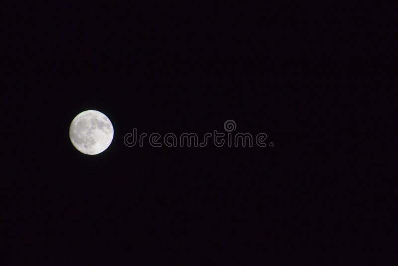 Glühender Vollmond gegen Himmel der dunklen Nacht stockfotos