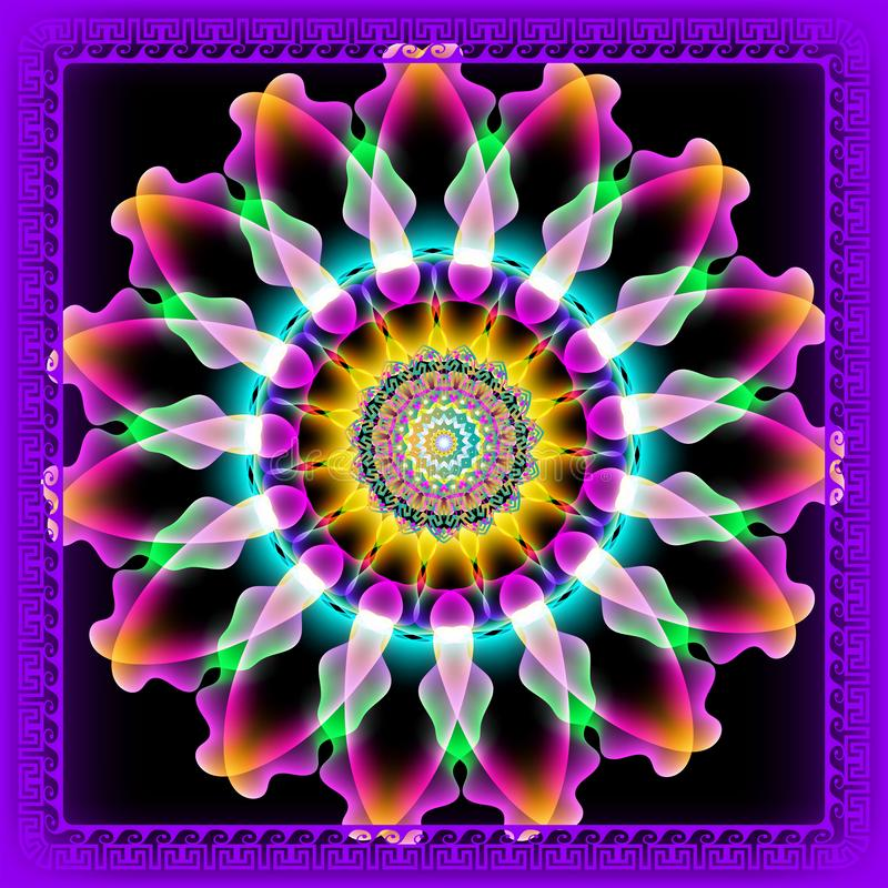 Glühendes buntes griechisches Mandalamit blumenmuster der Runde 3d Vector dekorativen Hintergrund Glühen helle Blumen, die Blätte vektor abbildung