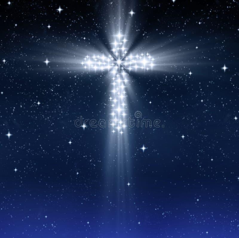 Glühendes frommes Kreuz in den Sternen stock abbildung