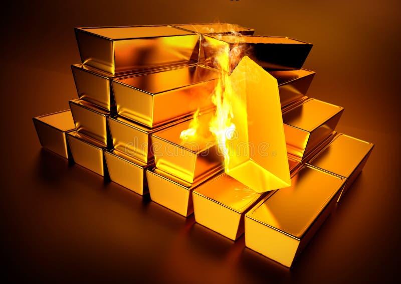 Glühendes Goldbarren-Gold stock abbildung