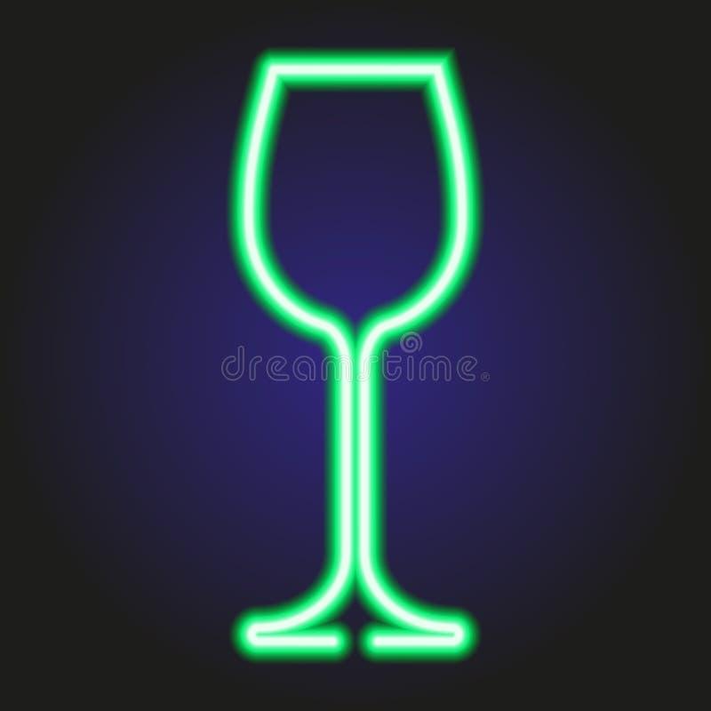 Glühendes grünes Neon des Weinglases der Illustration stock abbildung