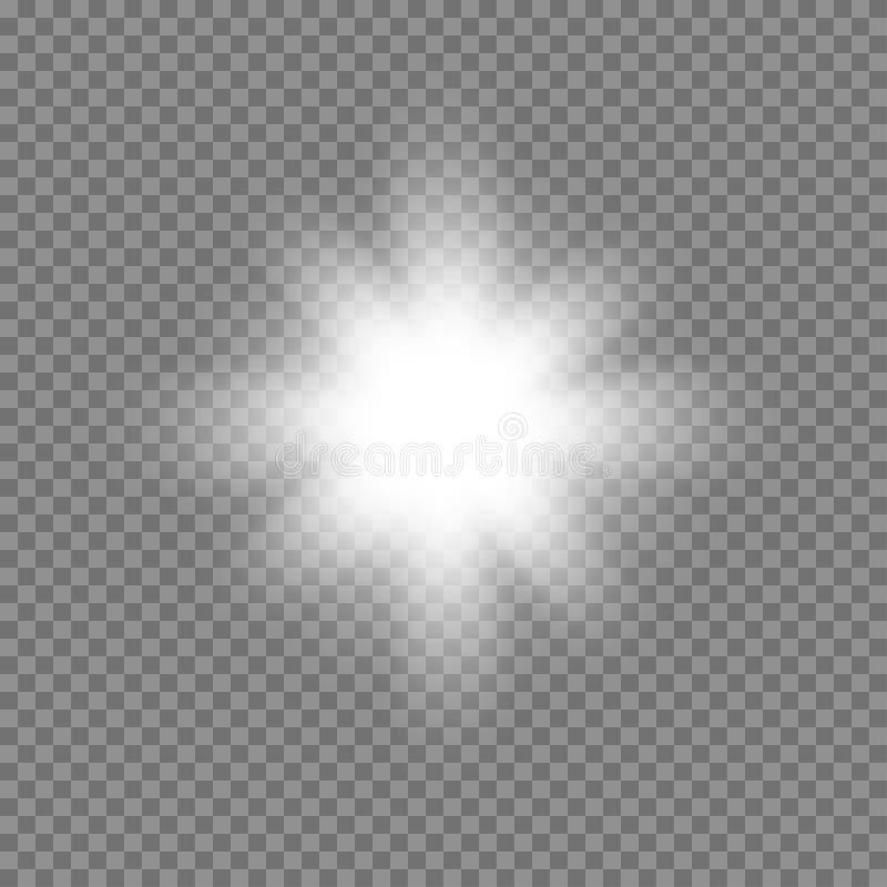 Glühendes Licht des Vektors birst mit Scheinen auf transparentem Hintergrund stock abbildung