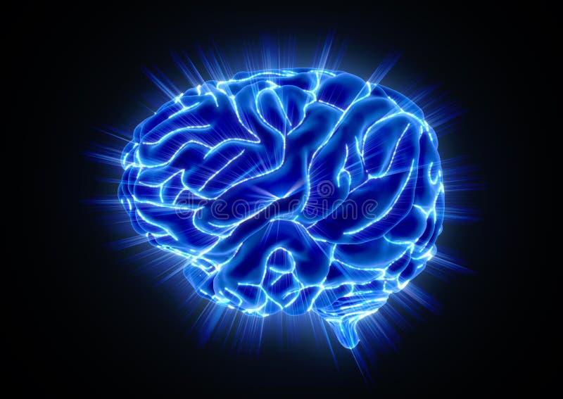 Glühendes menschliches Gehirn auf schwarzem Hintergrund stock abbildung