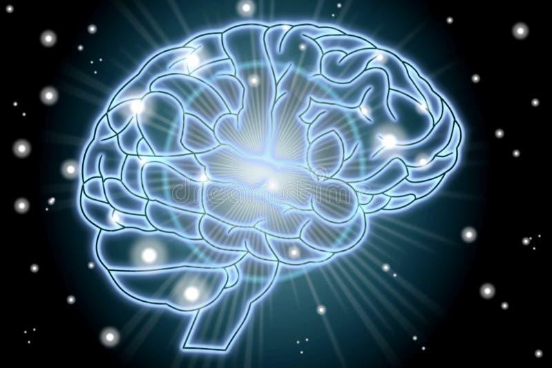 Glühendes menschliches Gehirn Konzept im blauen Hintergrund lizenzfreie abbildung