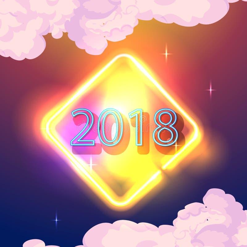 Glühendes Neon Abbildung Vektor 2018 Grußkarte des neuen Jahres, Einladung, Fahne vektor abbildung