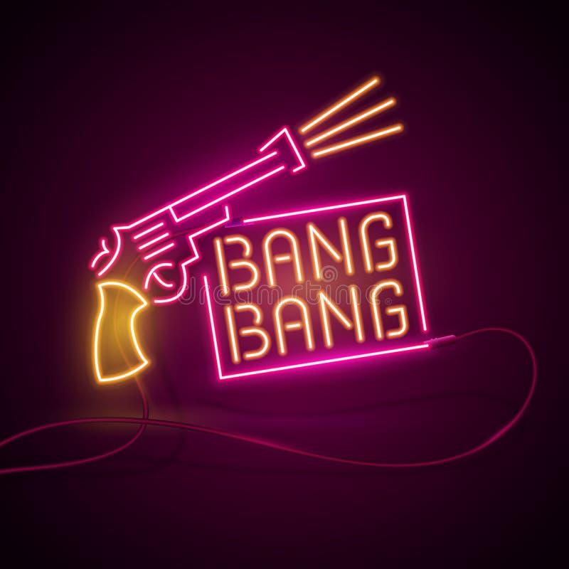 Glühendes Neoneffektzeichen Paare des gekreuzten Gewehrrevolvers Nachtclub- oder Barkonzept tireurpistolen oder -waffe auf Dunkel vektor abbildung