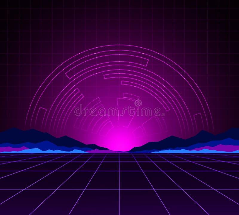 Glühendes Neonlicht Hintergrund-Schablone Retro- Videospiele, futuristischer Entwurf, Computer-Animation und Sciencefictionstechn vektor abbildung
