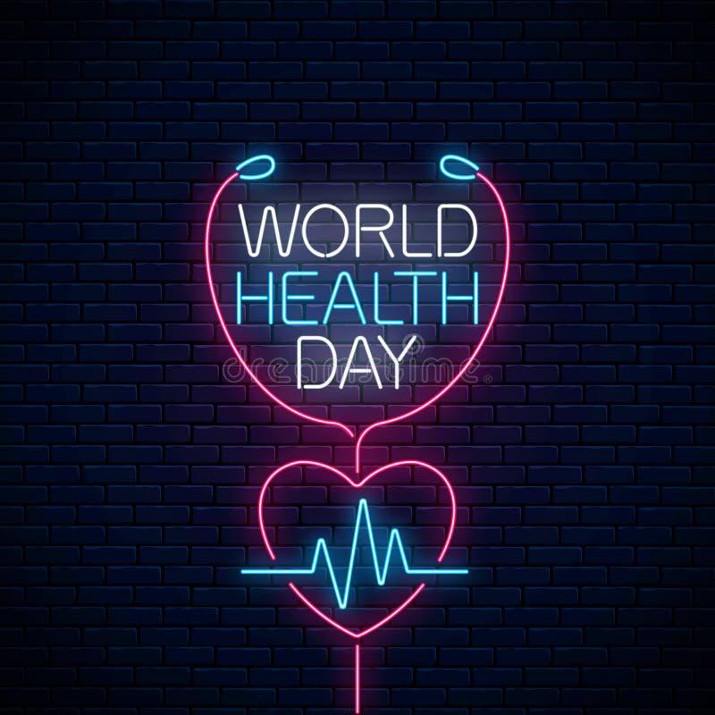 Glühendes Neonmedizinkonzeptzeichen mit Kardiogrammdiagramm in der Herzform Weltgesundheits-Tagesfahne, Symbol lizenzfreie abbildung