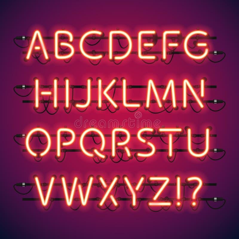 Glühendes Neonstangen-Alphabet lizenzfreie abbildung