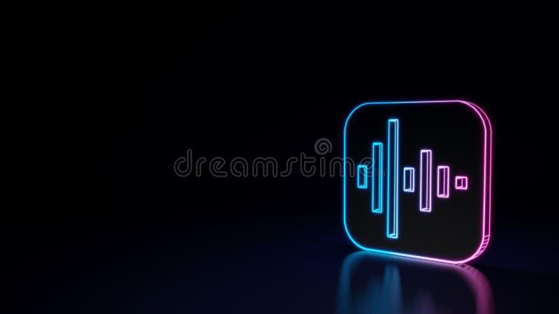 glühendes Neonsymbol 3d der Ikone von Sprachnotizen App lokalisiert auf schwarzem Hintergrund vektor abbildung