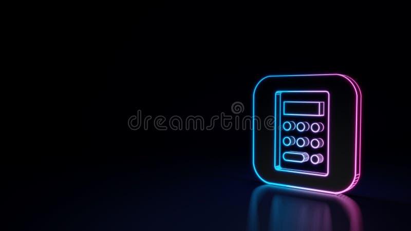 glühendes Neonsymbol 3d der Ikone von Taschenrechner App lokalisiert auf schwarzem Hintergrund lizenzfreie abbildung