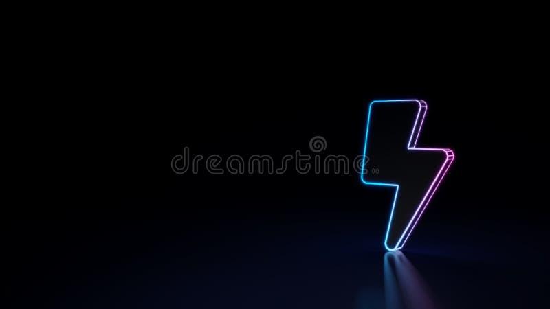 glühendes Neonsymbol 3d des Symbols des Blitzes lokalisiert auf schwarzem Hintergrund stock abbildung