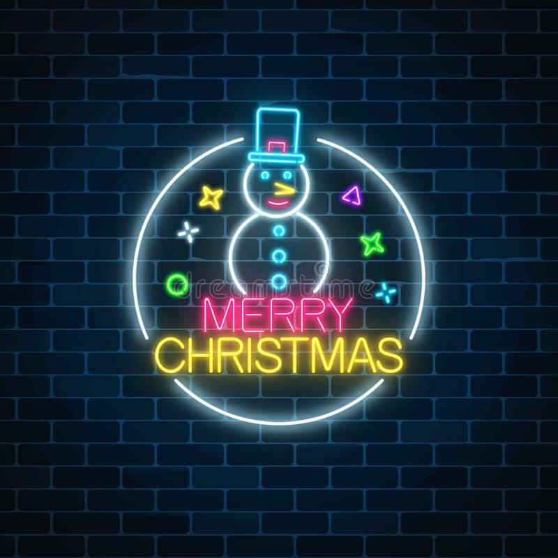 Glühendes Neonweihnachten unterzeichnen mit Schneemann mit Hut im Kreisrahmen Weihnachtsschneemannsymbol-Netzfahne in der Neonart lizenzfreie abbildung