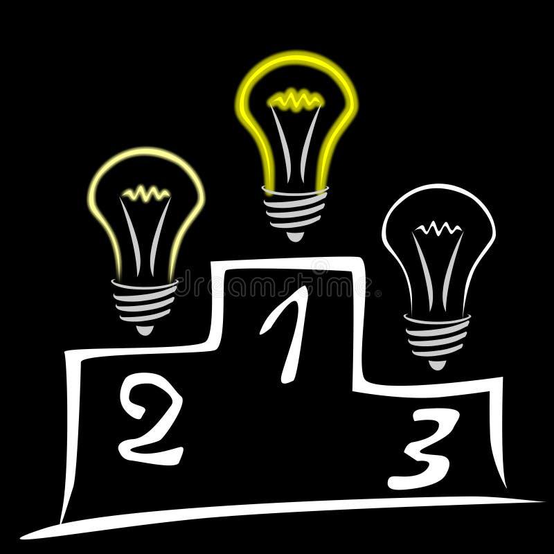 Glühenlampen auf Podium stock abbildung