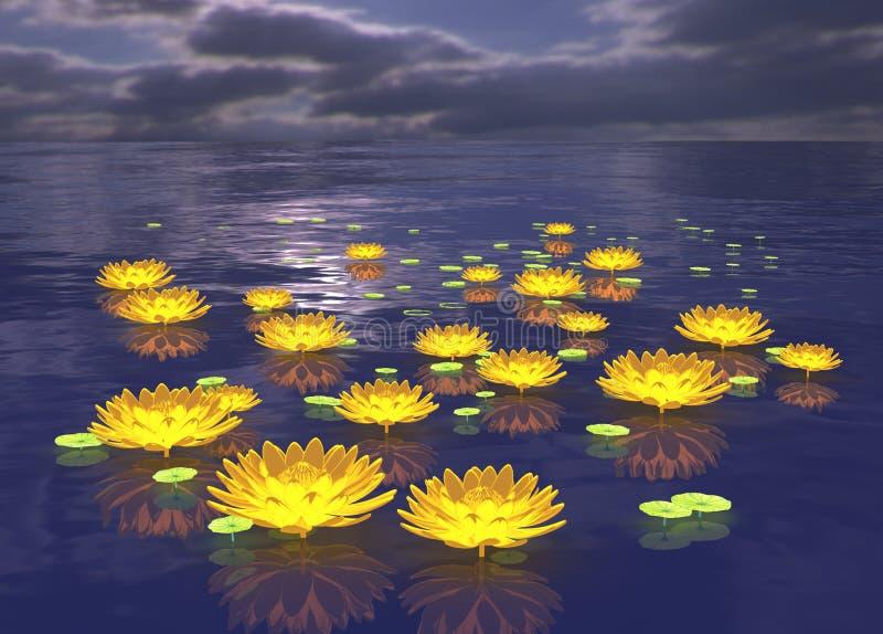 Glühenlotosblumen-Wassernachthintergrund lizenzfreie abbildung