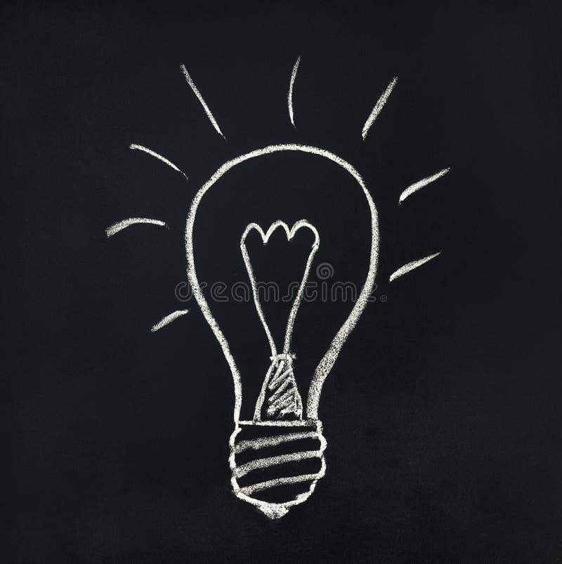 Glühlampe auf einer Tafel lizenzfreie stockbilder