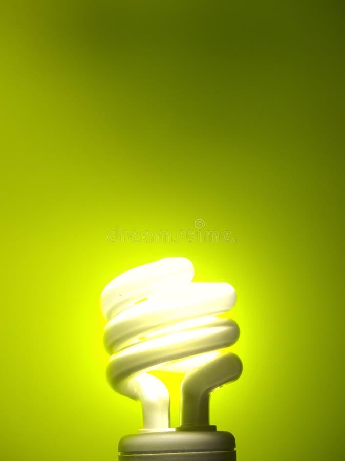 Glühlampe auf grünem Hintergrund stockfoto