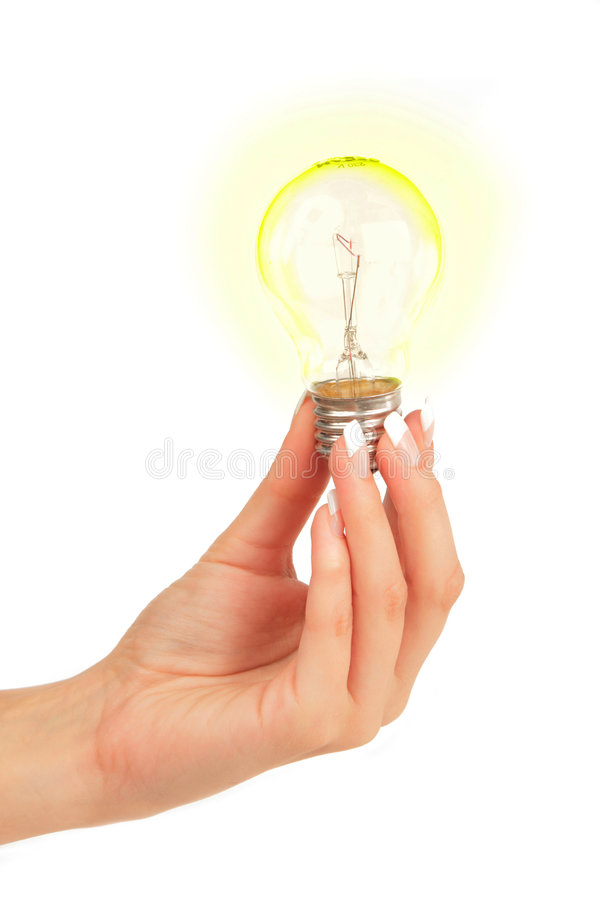 Glühlampe in der Hand lizenzfreie stockbilder