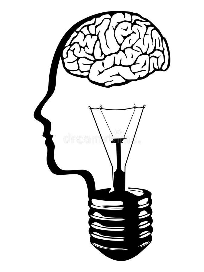 Glühlampe des Gehirns vektor abbildung