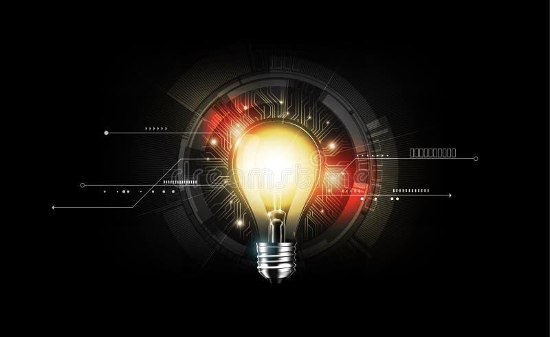 Glühlampe des Glühens mit Technologiekonzept und futuristischer elektronischer Technologie auf dunklem Hintergrund, Illustrations vektor abbildung