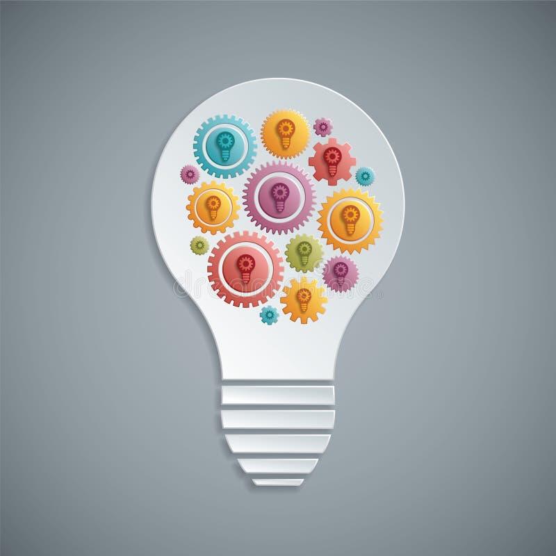 Glühlampe des Vektors mit den Gängen, die zusammenarbeiten stock abbildung