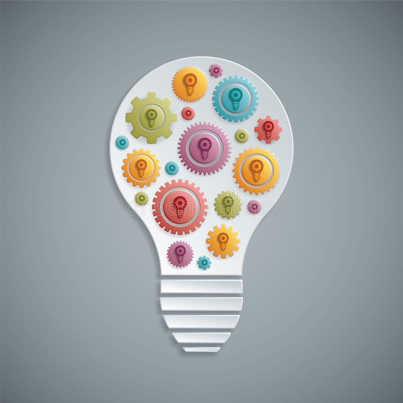 Glühlampe des Vektors mit Zahngängen Hand, die lego Wand aufbaut vektor abbildung