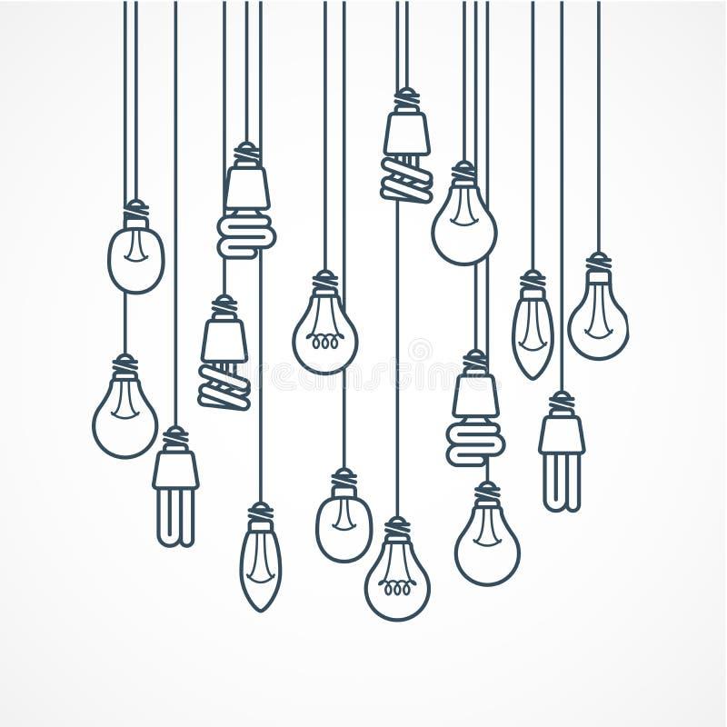 Glühlampe, die an den Schnüren - Lampen hängt vektor abbildung