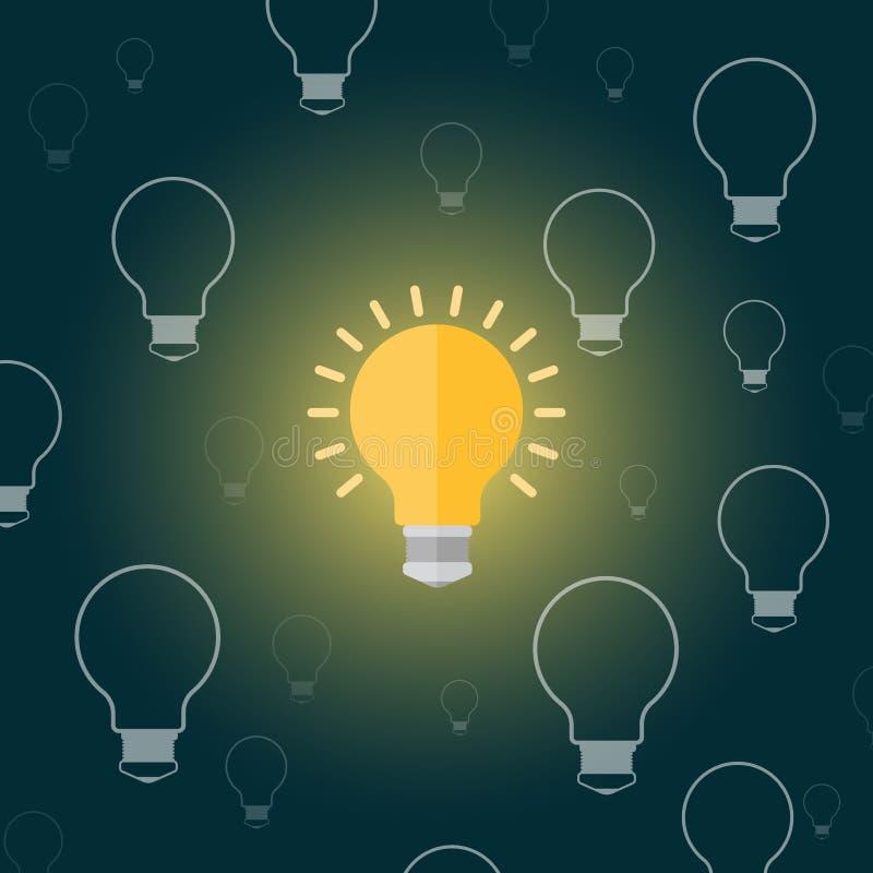 Glühlampe in einer Karikaturart flach auf einem dunklen Hintergrund lizenzfreie abbildung