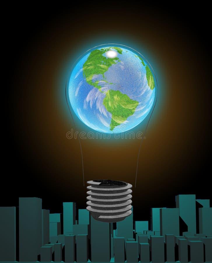 Glühlampe-Erde über Stadt lizenzfreie abbildung