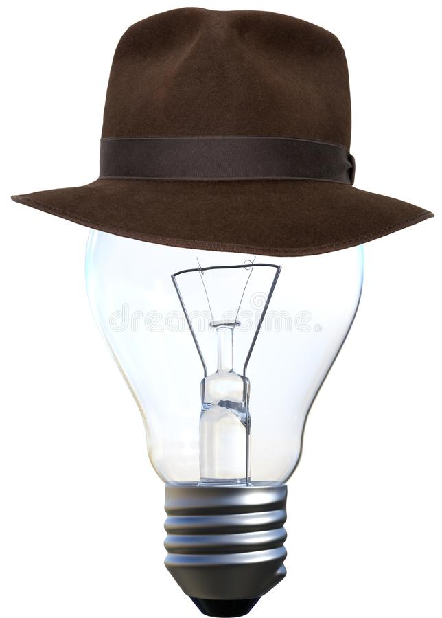 Glühlampe, Fedora, lokalisiert, Indiana Jones Hat lizenzfreie stockbilder