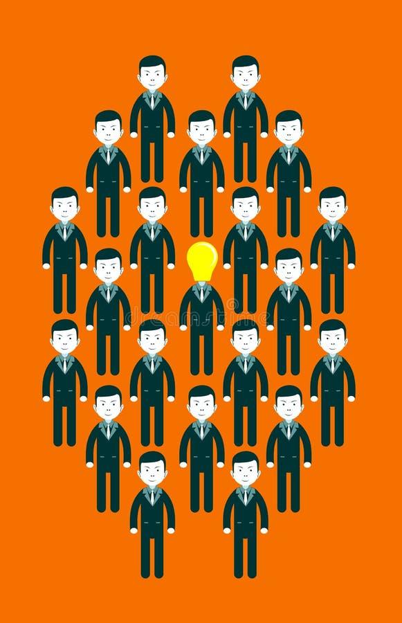 Glühlampe ging Geschäftsmänner in der Mitte einer Gruppe von Personen voran lizenzfreie abbildung