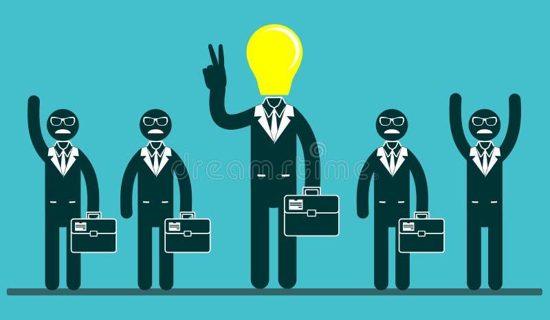 Glühlampe ging Geschäftsmänner in der Mitte einer Gruppe von Personen voran stock abbildung