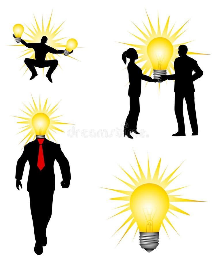 Glühlampe-Ideen-Leute-Schattenbilder lizenzfreie abbildung