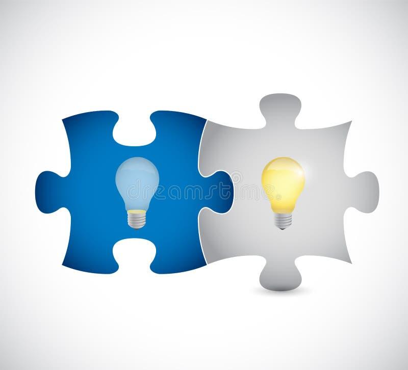 Glühlampe-Ikone auf blauem Puzzlespiel stock abbildung