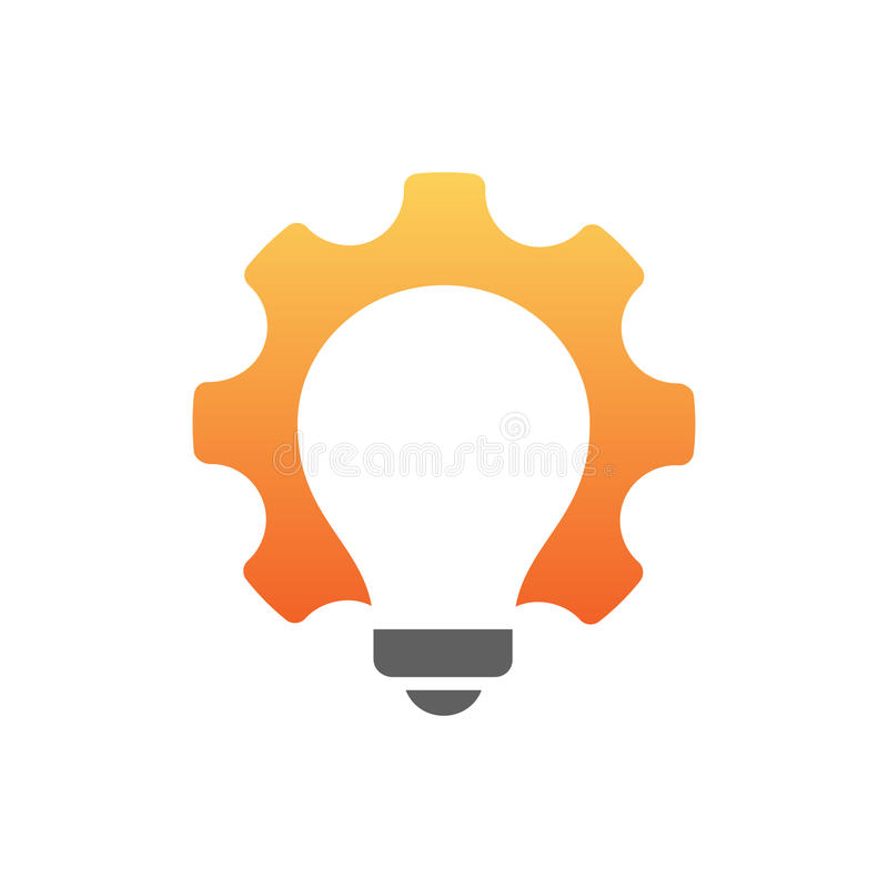Glühlampe innerhalb des Gangsymbols New Energy-Ideen lizenzfreie abbildung