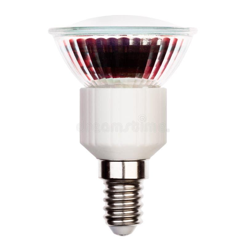 Glühlampe LED mit dem Sockel E14 lokalisiert auf Weiß stockfotos