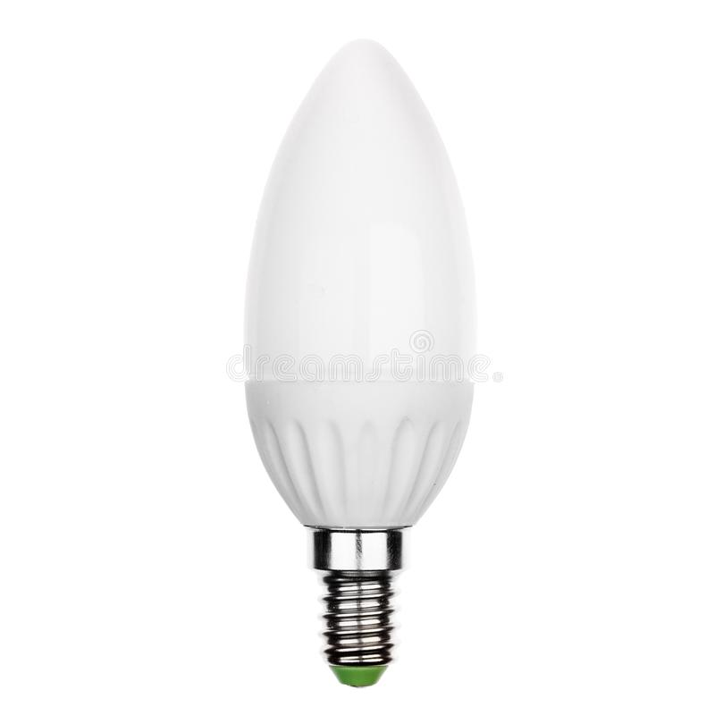 Glühlampe LED mit dem Sockel E14 lokalisiert auf Weiß stockfoto
