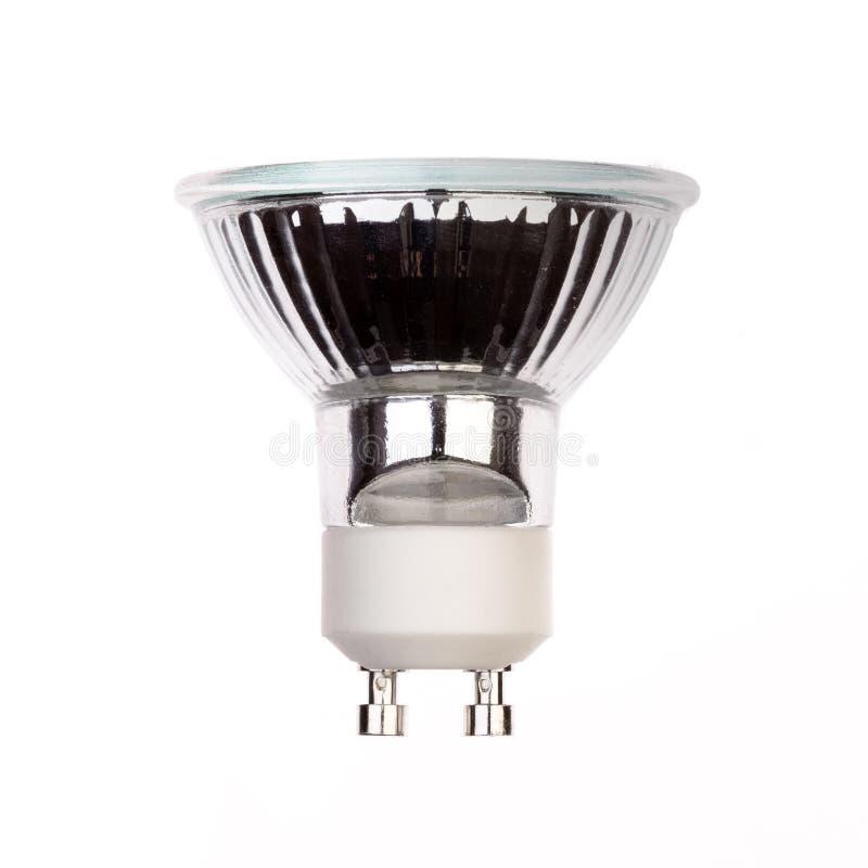 Glühlampe LED mit dem Sockel GU10 lokalisiert auf Weiß stockfotos