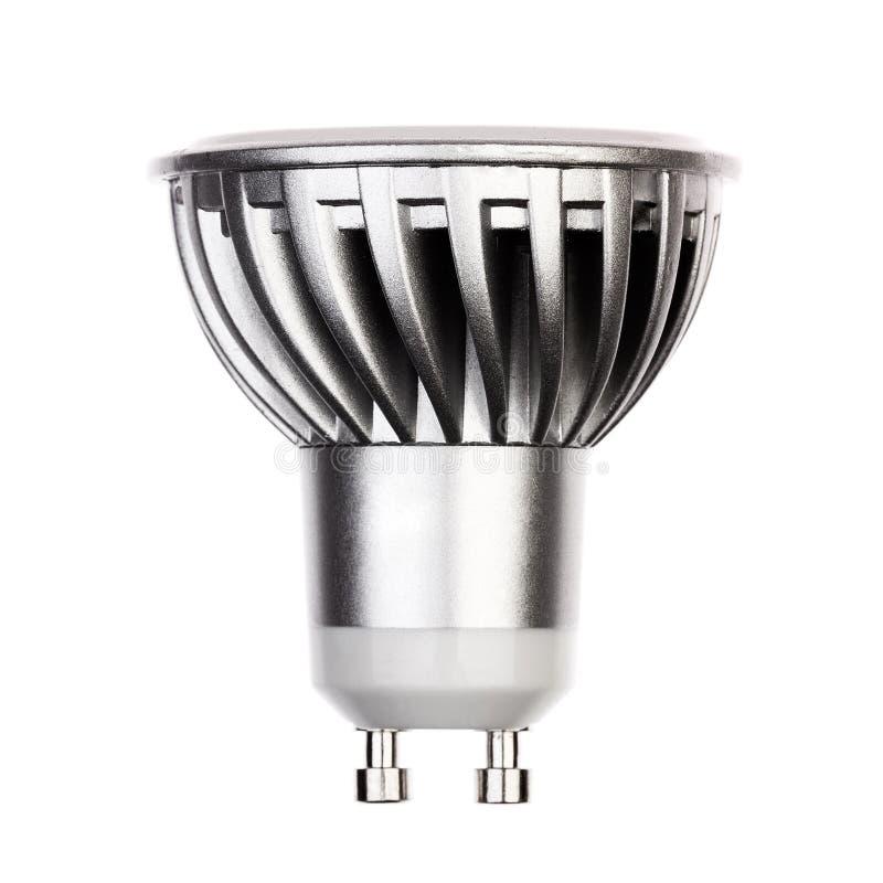 Glühlampe LED mit dem Sockel GU10 lokalisiert auf Weiß lizenzfreies stockbild