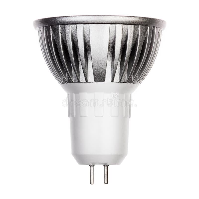 Glühlampe LED mit GU5 Sockel 3 lokalisiert auf Weiß stockfotografie