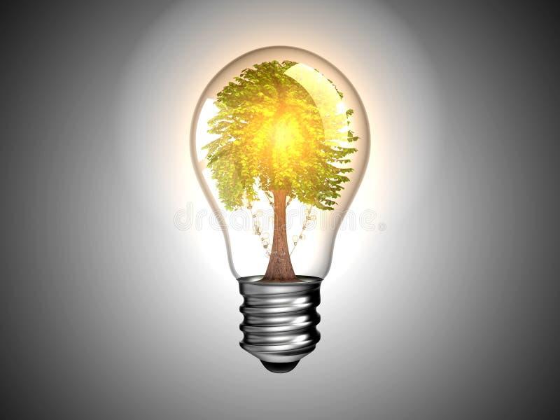 Glühlampe mit Baum nach innen es und Leuchte vektor abbildung