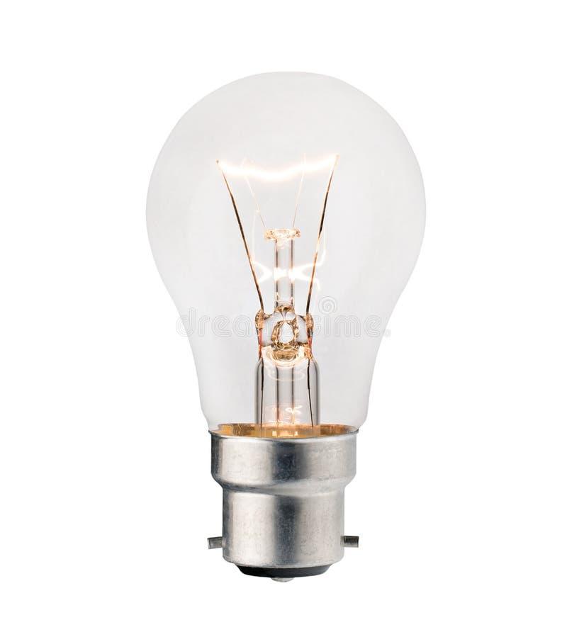 Glühlampe mit dem Bajonettbeschlag getrennt auf Weiß lizenzfreies stockfoto