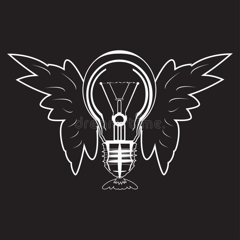 Glühlampe mit Flügeln vector Ikone in der flachen Art stock abbildung