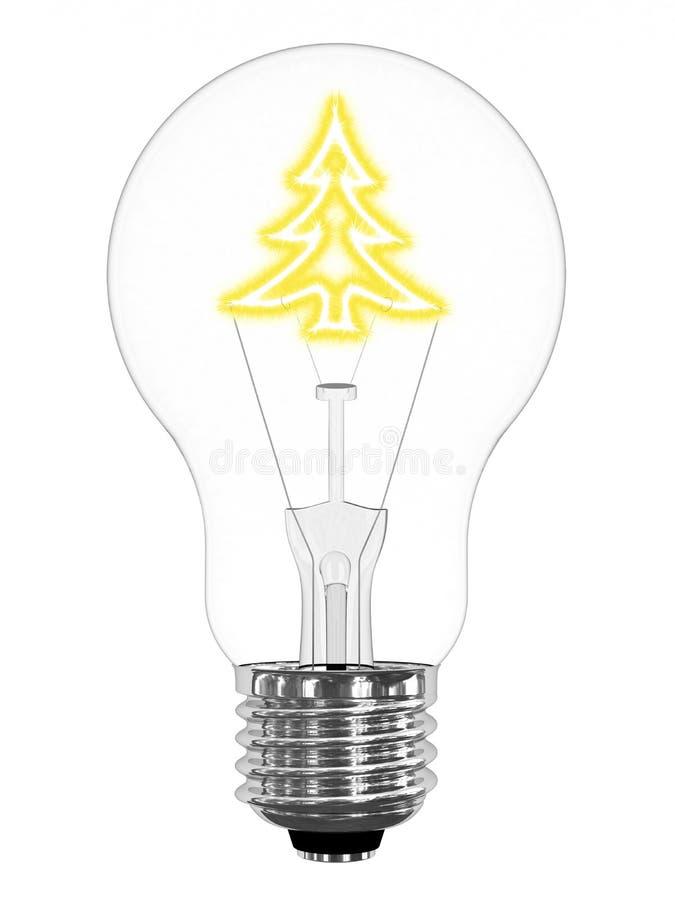 Glühlampe mit funkelndem Weihnachtsbaum nach innen stock abbildung