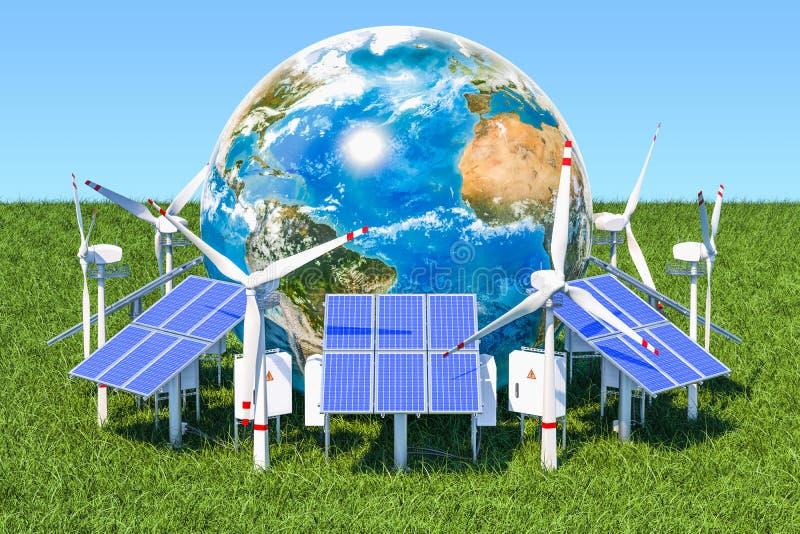 Glühlampe mit grünem Baum und Blume Sonnenkollektoren und Windkraftanlagen herum vektor abbildung
