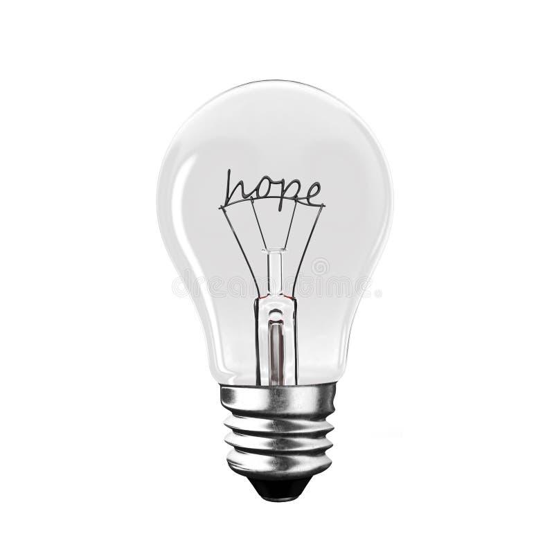 Glühlampe mit Hoffnungswort-Drahtform Wiedergabe 3d lizenzfreie abbildung