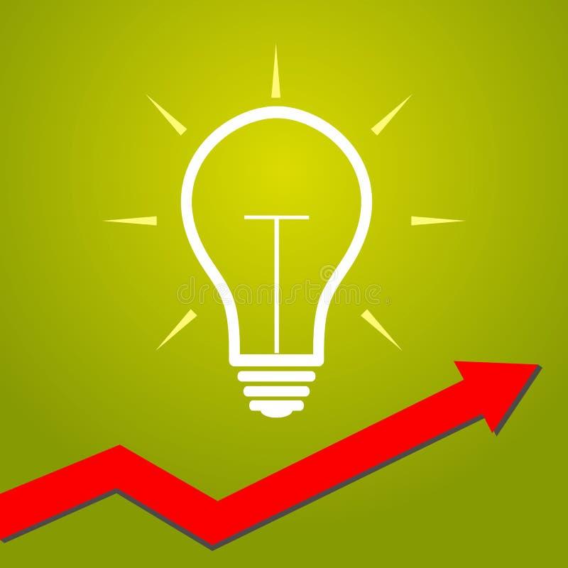Glühlampe mit Pfeil Konzept für beginnen ups, kreatives Geschäft, lizenzfreie abbildung