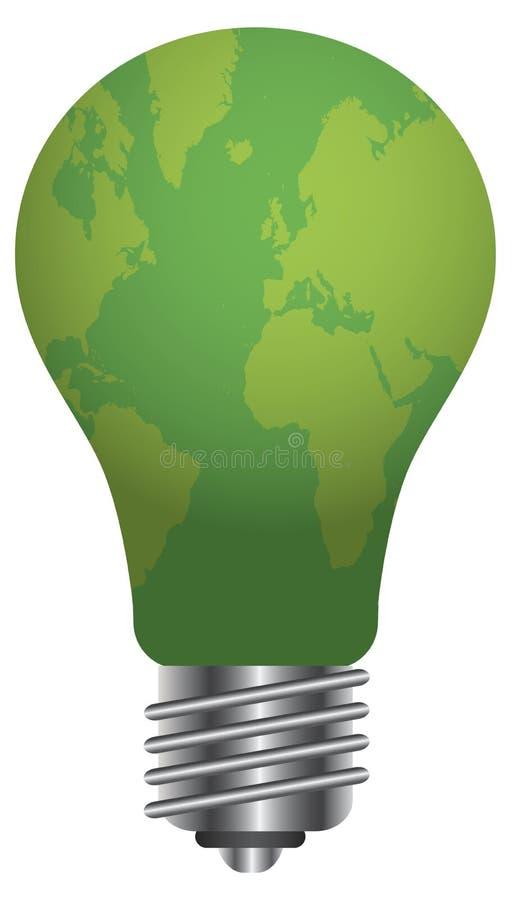 Glühlampe mit Weltkarten-Abbildung vektor abbildung