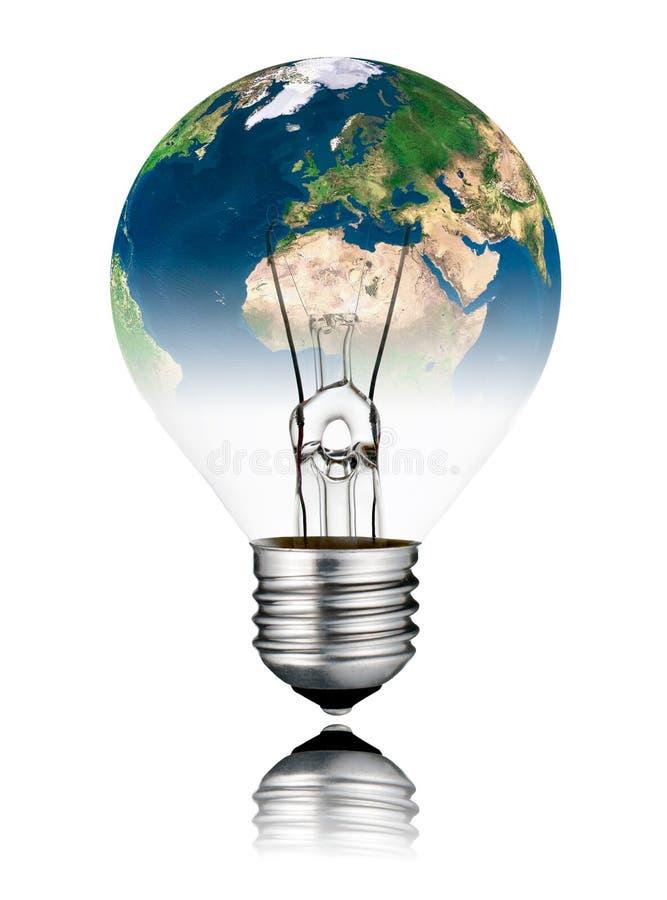 Glühlampe schaltete AUS- Weltkugel Europa und Afrika vektor abbildung