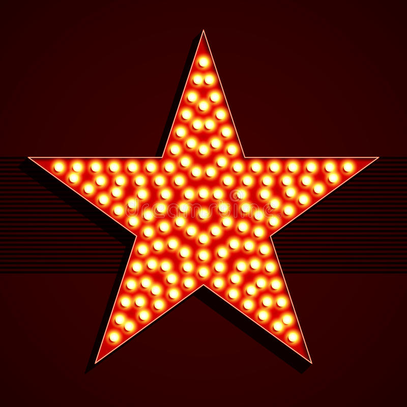 Glühlampe-Sternform Broadway-Art stock abbildung